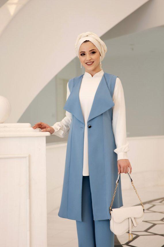 Elit Üçlü Tesettür Takım Gömlek Yelek Pantolon Bebe Mavi Al-Marah