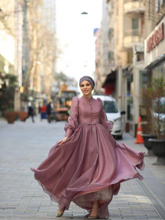 Angel Tesettür Abiye Lila – My Dreams Collection