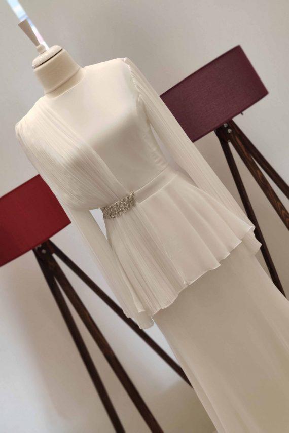 Pilise Dökümlü Elbise Beyaz - Modgrey