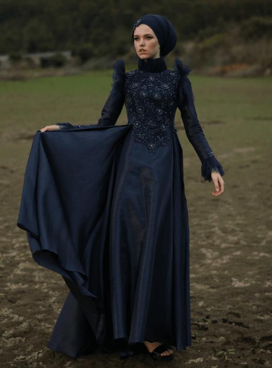 Vuslat Tesettür Abiye Lacivert - My Dreams Collection